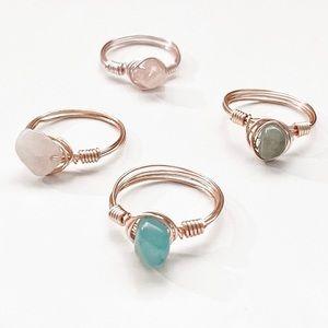 🤍3/$30 Handmade Custom Wire Wrap Crystal Ring